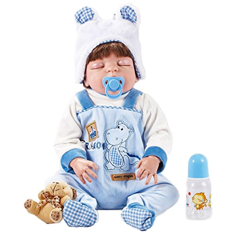 リボーンボディシリコーンビニールドール寝袋赤ちゃん22インチ磁気口完全生きている赤ちゃんリアルベビーベリー子供玩具子供誕生日ギフトは洗うことができます