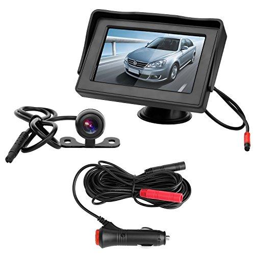 OBEST 4.3インチLCDモニター バックカメラセット ケーブル一本配線 シガーソケット給電 取り付け超簡単 駐車支援システム 12V車用