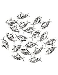 MagiDeal 20 Pieces Silver JESUS Fish Charms Pendant Finding Bead Making Crafts Christian Jewelry Supplies