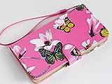 【ファミリアデザイン】 HTC HTC J butterfly HTL23 au スマホカバー ケース 蝶々と花 手帳型 PU レザー 横型 スタンド機能付