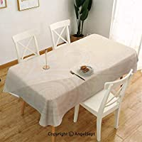 ぼろぼろのシックな観賞用花曲線葉咲く古典的な女性の繁栄パターンテーブルクロス 北欧 綿麻 長方形 テーブルカバー ラウンド 無地 おしゃれ 簡約 食卓カバー 137 x 185アイボリータンクリーム