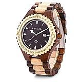 Bewell ナチュラルウッド製腕時計 メンズ カレンダー付き クォーツ 木製腕時計 Ebony wood+Maple wood