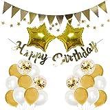 Mainiusi 誕生日 飾り付け 風船 ゴールド 紙吹雪入れ バルーン スター星 HAPPY BIRTHDAYガーランド お祝い1歳 ハッピー バースデー パーティー 装飾 25枚セット