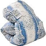タンスのゲン 日本製 羽毛布団 セミダブルロング ホワイトダックダウン 90% 350dp(かさ高145mm)以上 7年保証 消臭抗菌 国内パワーアップ加工 柄ブルー 10119007 15