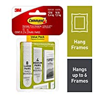 Command Picture Hanging Strips Variety Value Pack, 4-Medium and 8-Large Strips, 4-Pack by Command