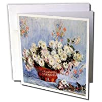 Print of Monet Painting Chrysanthemums - Greeting Cards 6 x 6 inches set of 12 (gc_203743_2) [並行輸入品]