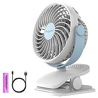 【最新バージョン】USB扇風機 小型携帯充電クリップ式 卓上扇風機 超静音 大風量4段階調節 360度角度調整 ベビーカー 扇風機 かわいい ホワイト