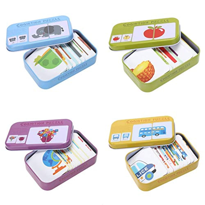 2019年の最新木製3dパズルジグソーパズル赤ちゃん学習カードマッチングゲームおもちゃ鉄ボックス就学前のパズルインテリジェンス子供教育玩具