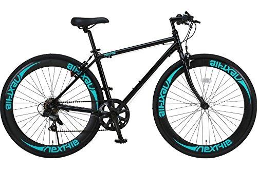 【完成車 組立済み】 NEXTYLE (ネクスタイル) 700C クロスバイク アルミフレーム シマノ7段変速 ディープリム 前輪クリックリリース CNX-7006 (ブラック グリーン)