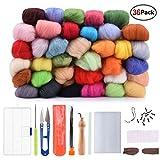 AUSHEN 羊毛繊維36色 フェルトツール セット 羊毛フェルトキット 手芸制作セット DIY素材 基本入門キット