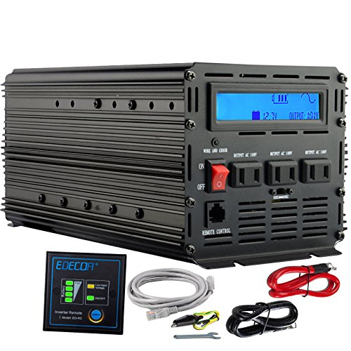 EDECOA 正弦波インバーター 1500W DC 12Vを...
