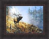 Song in the Mist by Jim Hansel 17x 21Bull Elk Framedアートプリント壁飾り画像