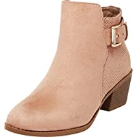 Cambridge Select Women's Closed Round Toe Perforated Buckle Chunky Stacked Mid Heel Ankle Bootie