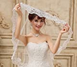 美しい 花嫁 ウエディングベール 花刺繍風 純白 &( フラワーシャワー) 付 レース 結婚式 ブライダルベール 刺繍風 01 (3M, 純白)