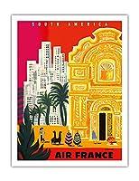 南アメリカ - ビンテージな航空会社のポスター によって作成された ベルナール・ヴィユモ c.1958 - アートポスター - 51cm x 66cm