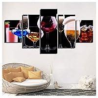Faaddd キャンバスプリントポスター家の装飾5ピースカラーワイングラスカクテル絵画絵画壁アート写真リビングルーム40×60 40×80 40×100センチメートルフレームなし