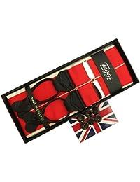 (タッグス)Taggs サスペンダー Y型 Yバック メンズ 紳士 英国製 ブレイス ボタン止め アルバートサーストン OEM バラシャ BAR/Red レッド 赤 SL B184