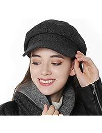 TIMISYO キャスケット レディース 帽子 秋冬 春用 防寒 ウール混 無地 ハンチング帽 小顔効果