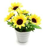 BEADY ヒマワリ 盆栽 円の鉢 造花 人工観葉植物 造花 光触媒 フェイクグリーン インテリア ギフト お祝い