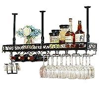 LJFJJ ワイングラス ホルダー キッチン収納組織 金属製食器棚 多機能棚 天井取り付け 逆さまのゴブレット ワイングラスラック (Color : Black, Size : 100x25cm)