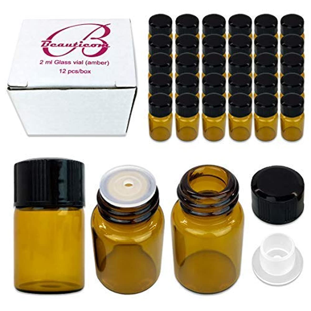 左クロール交通渋滞48 Packs Beauticom 2ML Amber Glass Vial for Essential Oils, Aromatherapy, Fragrance, Serums, Spritzes, with Orifice Reducer and Dropper Top [並行輸入品]