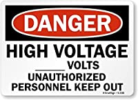 SmartSign Danger: High Voltage Write-On Volts Keep Out Vinyl Label 7 x 10 [並行輸入品]