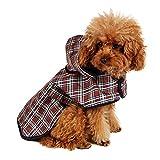 PAWZ Road ドッグウェア 犬服 レインコート 犬 猫 小型犬 中型犬 防水 梅雨対策 通気性よい 洗える 着脱簡単 チェック柄 かわいい S