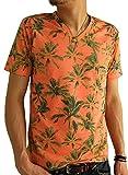 (アーケード) ARCADE メンズ 夏 天竺 総柄 Vネック ボタニカル 花柄 ボーダー カモフラ 迷彩 リゾート 半袖 Tシャツ M B柄レッド