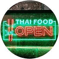 Open Thai Food Shop Thailand Restaurant Dual LED看板 ネオンプレート サイン 標識 Green & Red 400 x 300 mm st6s43-j0705-gr