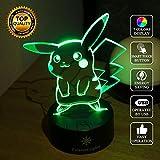 Pokemon Pikachu 3d LEDナイトライト、3d Optical Illusion Visualランプ、7色段階的な変更タッチスイッチUSBテーブルランプ