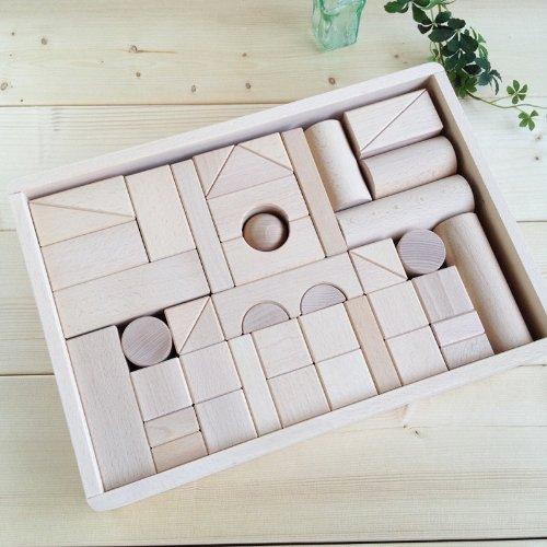 虹いろつみ木(白木) オリジナル積み木(木箱入り)