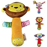fairysu 4 pc Set Cartoon DevelopmentalおもちゃStuffed Animal Baby Soft Plush Hand Rattle Squeaker Sticks for Toddlers