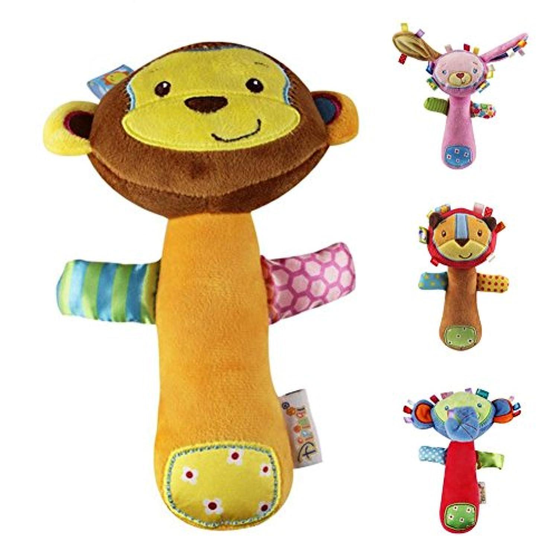 fairysu 4 pc Set Cartoon DevelopmentalおもちゃStuffed Animal Baby Soft Plush Hand Rattle Squeaker Sticks for Toddlers