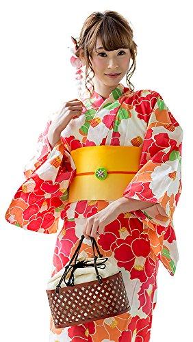 [ 京都きもの町 ] レディース浴衣 2点セット3,980円 全16柄と帯の2点セット F 15赤×オレンジ椿+帯黄