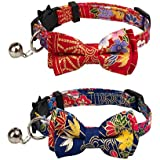 Gyapet Collar for Cats Pets Breakaway with Bell Bowtie Floral Bow Detachable Adjustable Safety Puppy 2pcs Navy Blue & Red