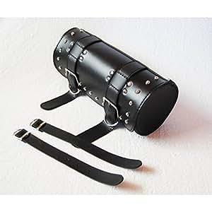 バイク用 スタッズ BIG サドル バッグ サイド バック アメリカン ツール バッグ シングル ブラック 革 レザー フロントフォークに取り付け可能