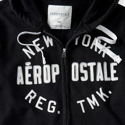 (エアロポステール)AEROPOSTALE パーカー New York Reg. Tmk. Full-Zip Hoodie ブラック Black (S) [並行輸入品]