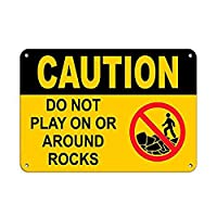 注意岩の上またはその周辺で遊んではいけません メタルポスター壁画ショップ看板ショップ看板表示板金属板ブリキ看板情報防水装飾レストラン日本食料品店カフェ旅行用品誕生日新年クリスマスパーティーギフト