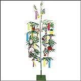 本格笹竹と七夕飾りが一緒になった 七夕イベントセット 210cm 組立式2分割  / 装飾 ディスプレイ  4195