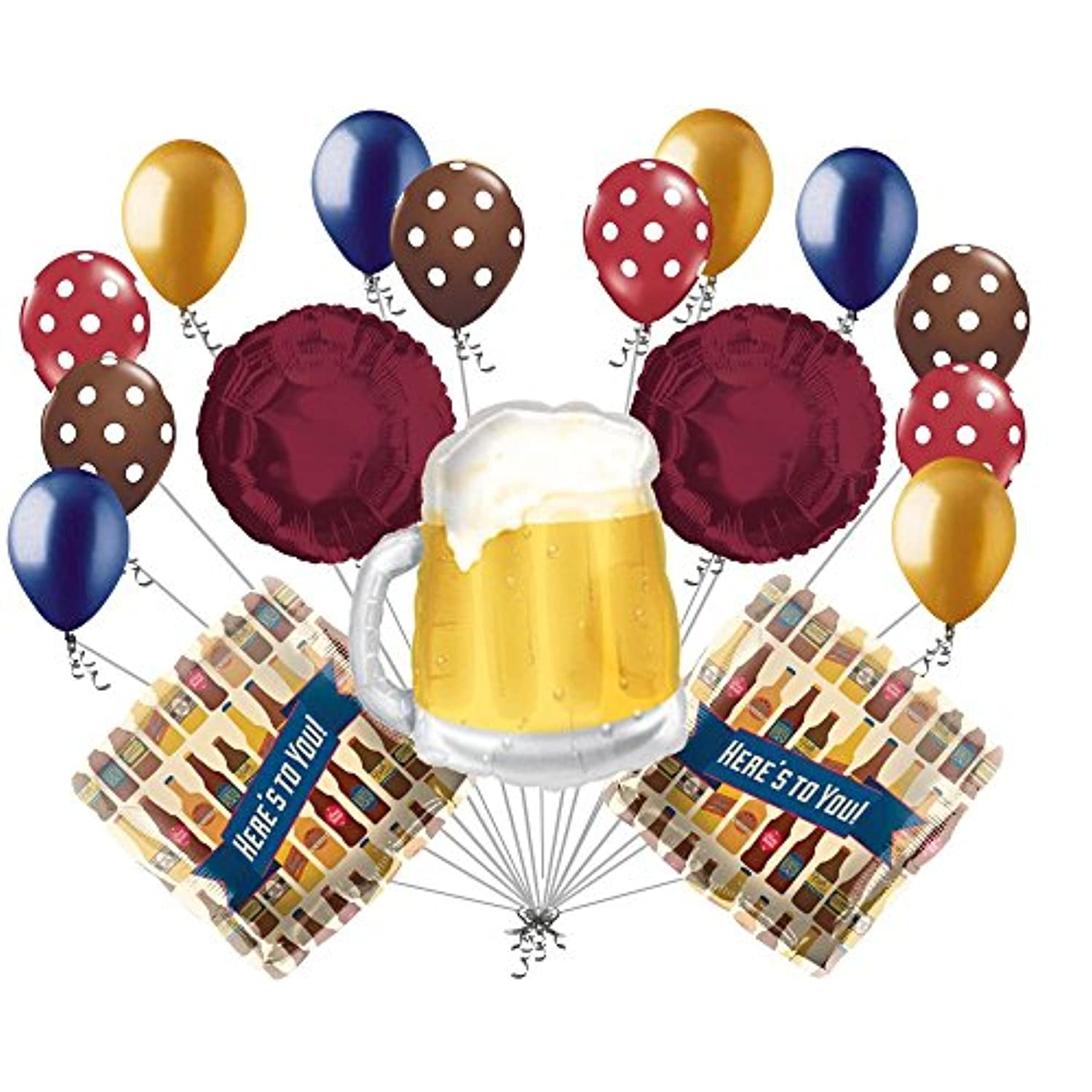 17 pc Beer Mug Here 's to YouバルーンブーケHappy誕生日卒業式Dadパーティー