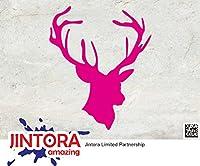 JINTORA ステッカー/カーステッカー - HEAD DEER - Buck hunting - HEAD DEER - バックハンティング - 114mm x139mm - JDM/Die cut - 車/ウィンドウ/ラップトップ/ウィンドウ- ピンク