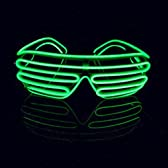 光るEL サングラス  LEDメガネ クラブパーティー用 (蛍光グリーン)