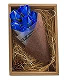 KIZAWA 枯れない花 ソープ フラワー プレゼント ギフト 大切な人 へ 感謝 の 気持ち を 伝える 花束 ( 母の日 父の日 バレンタイン ホワイトデー 入学 卒業 誕生日 結婚記念日 七夕 など 様々な お祝い の シーン に 最適 )(7本, ブルー)