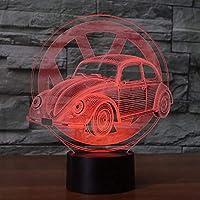 クリエイティブカーサイン3dライトナイトライト7色変更ledテーブルランプusbライト寝室用装飾としてのギフト、7色タッチ