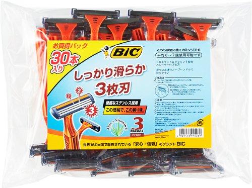 BIC(ビック) ビックスリー 3枚刃 30本 男性用カミソリ(使い捨て・ディスポ) 1袋 BICジャパン