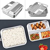 Lixada アルミ弁当箱 ランチトレイ 分割 食品容器 軽量 2-IN-1 食品 弁当箱 屋外