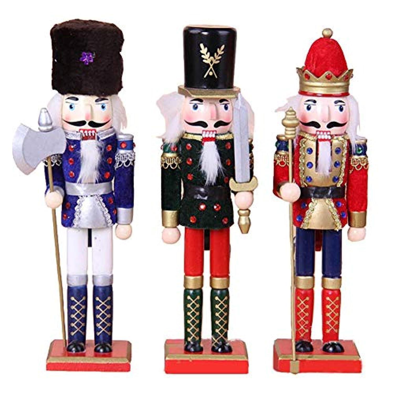 feileng 3個入り クリスマス オーナメント人形 くるみ割り人形 兵隊 木製 おもちゃ クリスマス 置物 インテリア オーナメント 誕生日 プレゼント くるみ割り人形 部屋飾り クリスマスの飾り
