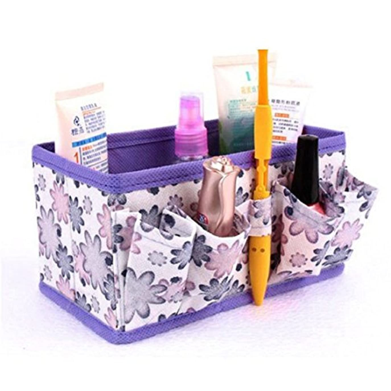 どちらか島どっち化粧用バッグ YOKINO 化粧品収納ボックス 収納スタンド コスメ収納ボ 小物/化粧品入れ レディース  ジュエリーボックス 小物 収納 クリア アクセサリー 折り畳み式の (紫の)