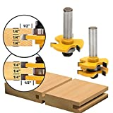 SILIVN 超硬刃ルータービット フェイス タン & グルーブ T型 ほぞカッター 電動トリマー用ビット 木工用 切削工具 戸板彫刻 ツール 1/2シャンク 2本入り