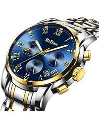 腕時計、メンズ腕時計、ラグジュアリークラシックステンレス腕時計ビジネスカジュアルウォッチメンズ防水マルチ機能クォーツ腕時計メンズ (ゴールド)